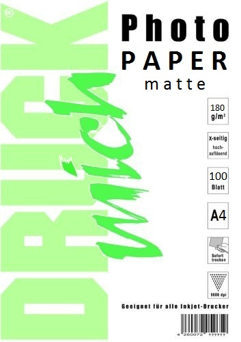 Matný fotopapír A4 180g / 100 listů